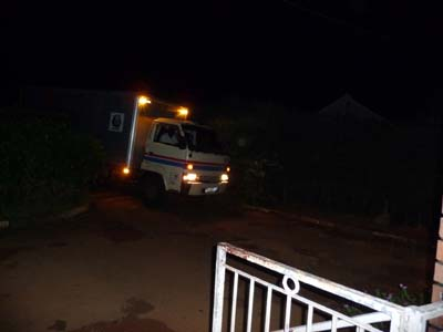 Truck entering the compound.