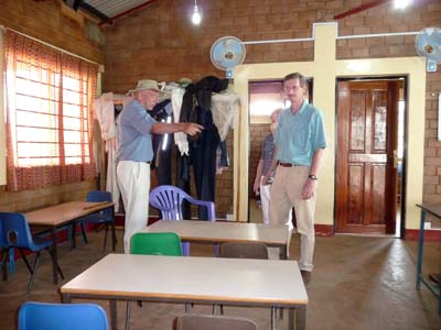 Bob showing Karl and Arleen the bee centre