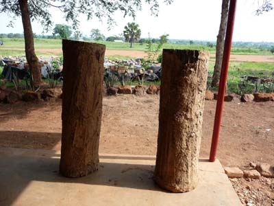 Rattan hives made by the orphans.