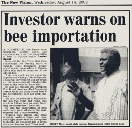 Talking to Minister regarding the consequences of importing bees.